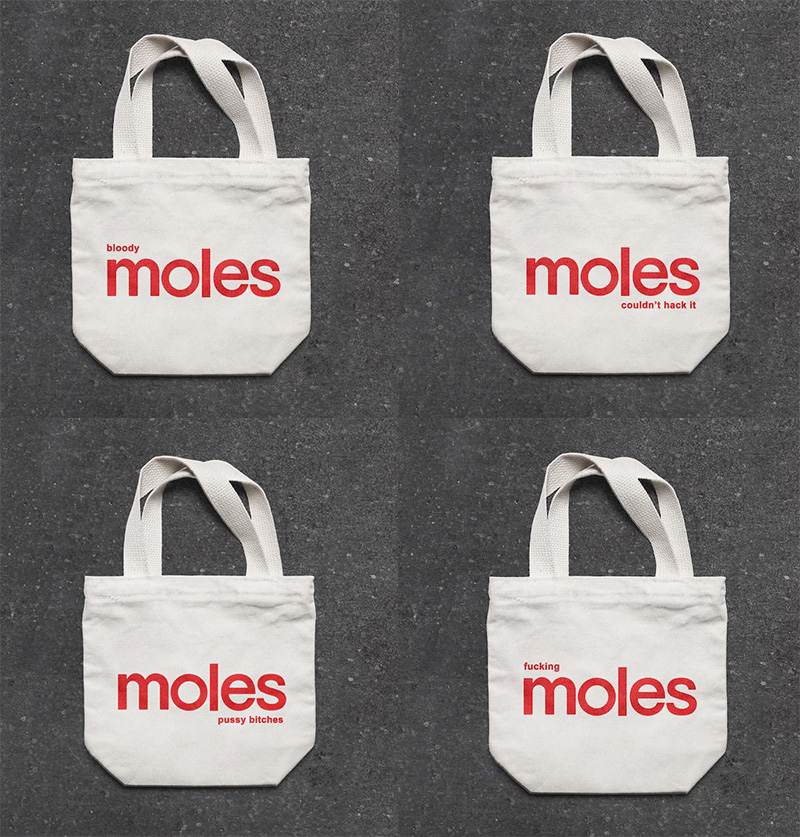 Coles Moles plastic bag brand damage